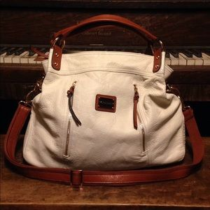Cynthia Rowley White and Camel Leather Handbag